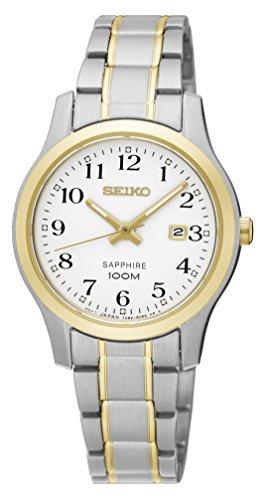Seiko Damen Analog Quarz Uhr mit Edelstahl beschichtet Armband SXDG90P1