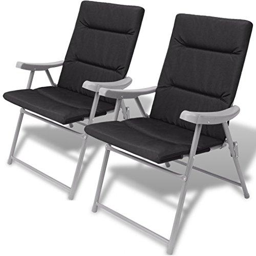 vidaXL sillas de jardín plegables con cojín 2...