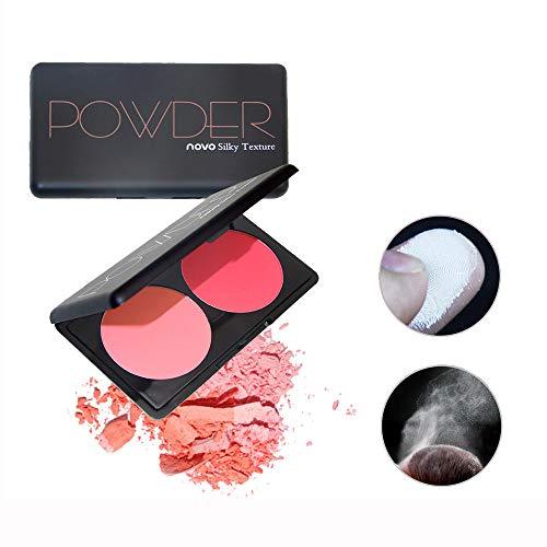 Vovotrade Blush Femmes Cheeks Powder Palette Doux Hydratant Naturel 2Couleurs Réparation Maquillage Huile Contrôle Poudre Imperméable Durcisseur Durable Éclaircissant Pore Nude Lumineux Blush