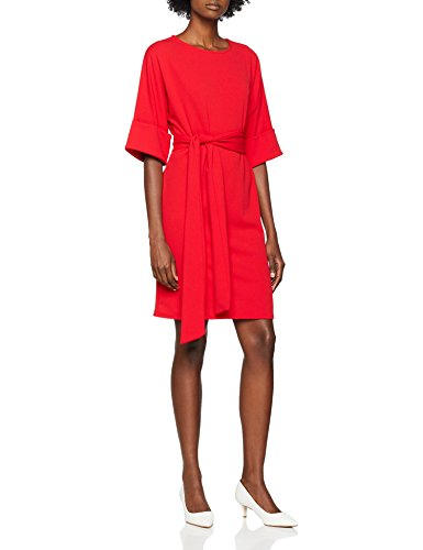 Lost Ink Damen Turn Up Sleeve Tie Waist Dress Kleid, Rot (Red 0055), (Hersteller Größe:42) - Red Dress Ink