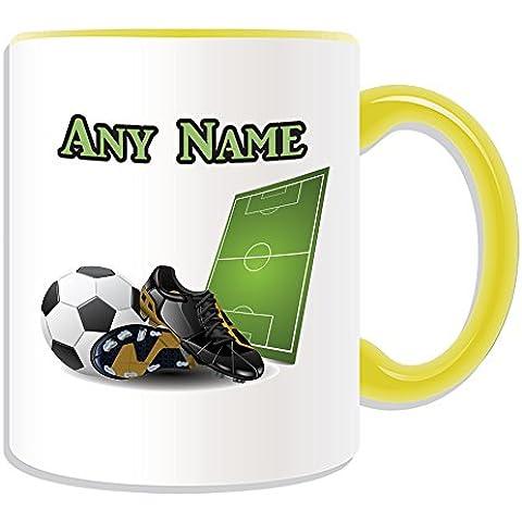 Personalizado–Taza (diseño Sport Tema de Fútbol, Opciones de Color)–Cualquier Nombre/Mensaje en tu regalo único–Taza cuju de fútbol FIFA, cerámica, Amarillo