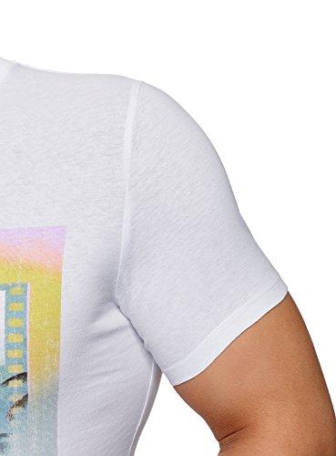 oodji Ultra Herren T-Shirt mit Sommerdruck Weiß (1065P)