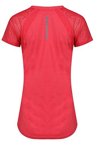 Tokyo Laundry Damen Retton Netzeinsatz Top Neu Damen Active Fitnessstudio Stretch T-Shirt rouge rot