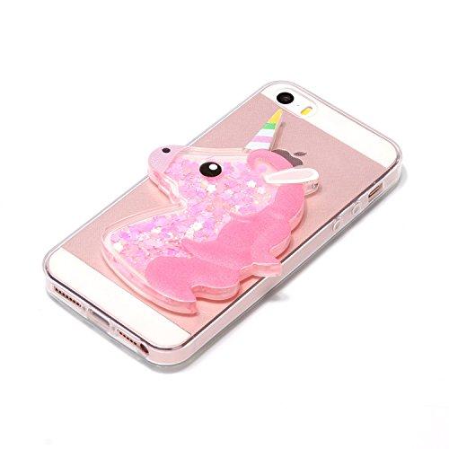 Cover iPhone SE, Custodia iPhone 5S, Caselover Custodia per iPhone SE /5S / 5 3D Glitter Unicorno Silicone TPU Liquido Sabbie Mobili Stella Bling Posteriore Copertura Trasparente Cristallo Diamanti St Unicorno Rosa