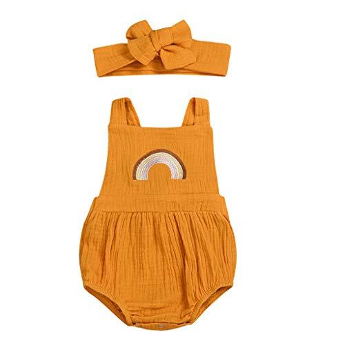 Zegeey Baby MäDchen Strampler Bekleidungssets ÄRmellos RüSchen Bestickt Outfit Mit Cap Geburtstag Geschenk(Gelb,70-80cm)
