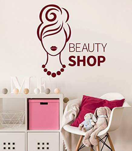 zhuziji Fashion Woman Wall Decal Beauty Shop Interior Vinyl Wall Stickers Removable Art Mural DIY Decor Modern Design Girl Decals 57x61cm - Scrapwood Wallpaper