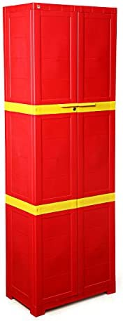 CelloNoveltyLarge Plastic Cupboard with Lock(Red and Yellow)