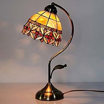 GFJ-40W artistico Tiffany lampada da tavolo con paralume in vetro macchiato floreale a Arc Braccio Style