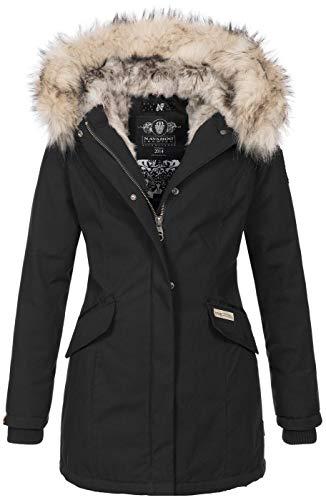 Navahoo Damen Winter Jacke Parka Mantel Winterjacke warm Kunstfell Premium B669 [B669-Christa-Schwarz-Gr.S]