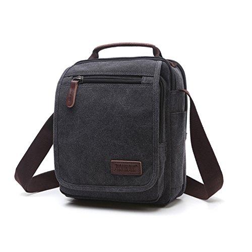 Outreo Borse a Spalla Borsetta Tracolla Uomo Vintage Messenger Bag Sport Borsa Scuola Borsello Tela Sacchetto per Tablet Laptop Portadocumenti Tasca Nero