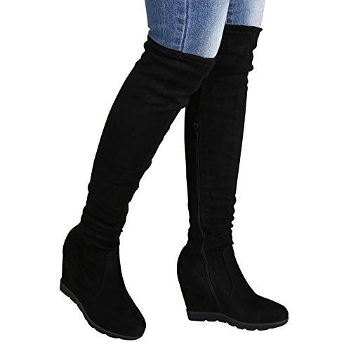 Damen Overknees Wedges Stiefel Keil Absatz Profil Sohle Schwarz