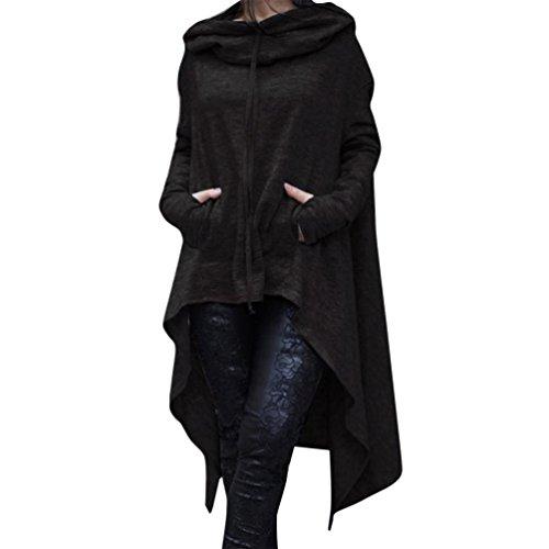 Koly_Le donne casuale irregolare Hood Felpa (S, Nero)
