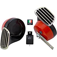 RED Black Twin TRUMPET SNAIL High/Low Tone 12v Volt Electromagnetic Loud Dual Replacement HORNS (Quantity 2) Compact Complete Universal Kit with Brackets ...