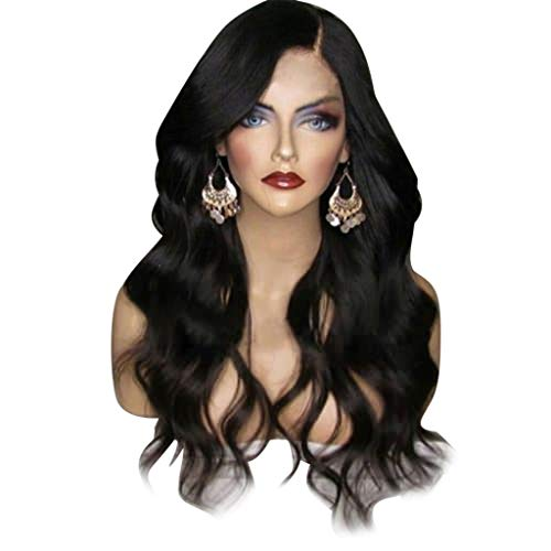 JXQ-N Foto Blickfang Artefakt Göttin Ebene Mode elegante synthetische lange Haare große Welle Locken Perücke (Schwarz)