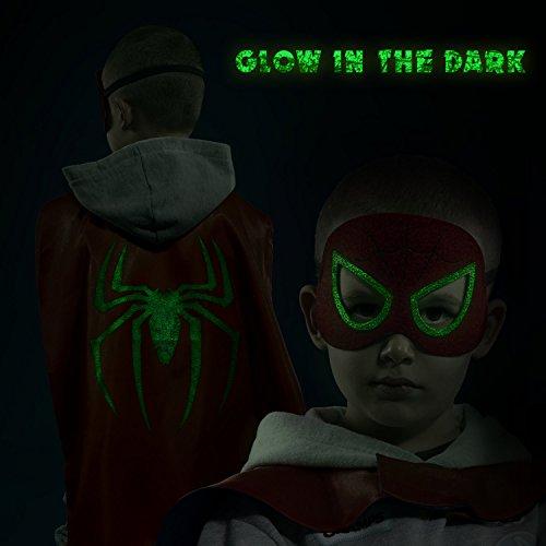 Disfraces-de-Superhroes-para-Nios-LAEGENDARY-4-Capas-y-Mscaras-Disfraces-de-Halloween-Logo-Brillante-de-Spiderman-Juguetes-para-Nios-y-Nias