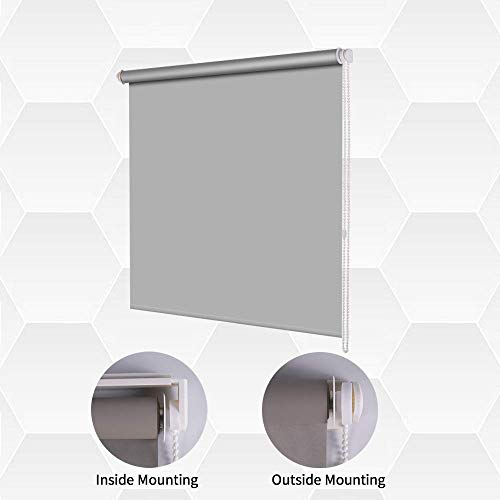 SMONTER LUCKUP persiana Enrollable de Tela 100{9afece7caf0cf37facf9f92a57a24707b40a0827d36d25e10bbef66a01bfd8ff} Opaca Impermeable para Ventana, aislada térmicamente, protección UV, para recámaras, salón, baño, Oficina, fácil de Instalar, Gris, 86CM W x 200CM