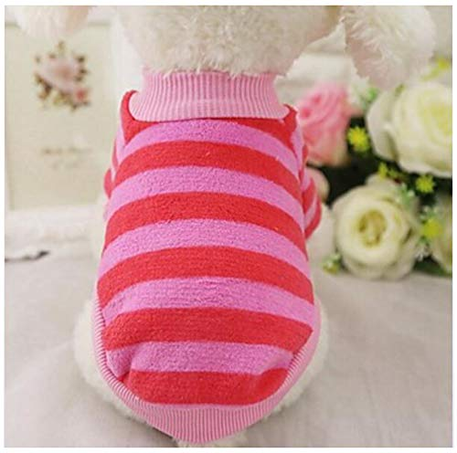 YAMEIJIA Dog Coat Shirt/T-Shirt Sweatshirt Dog Clothes Stripe Stripe Flannel Fabric Kostüm für Haustiere,Pink,XXL -