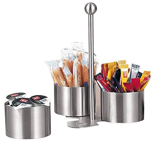 Esmeyer Snack-und Dip-Set Boston aus gebürstetem Edelstahl, Silber, 17 x 17 x 24 cm Chip Dip Set