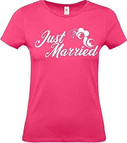Lady T-Shirt, Just Married Hochzeit Liebe Flower, pink, S -