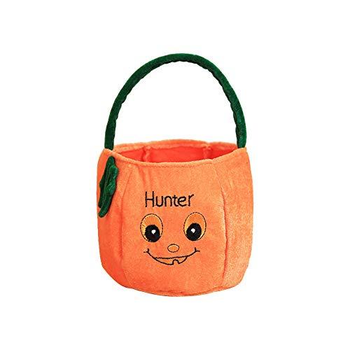Cosanter Halloween Kleinen Korb Tragbare Süßigkeiten Tasche Kinder Make-up Party Kostüme (Orange 02)