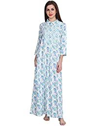 1934949cf7 Patrorna Blended Women s Lace Blouson Collar Shift Nighty Night Dress Gown  in Floral Print (Size S-7XL