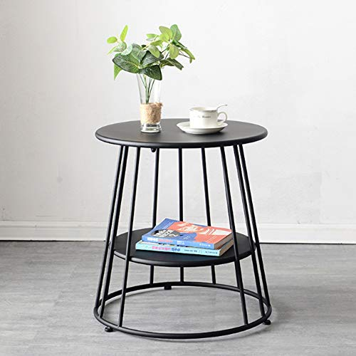 Klapptisch YANFEI, Round Side, Metall Wohnzimmer Kleiner Couchtisch Zweistöckiges Regal (Farbe : SCHWARZ) (Regale Espresso-farbe)