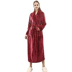 MCYs Peignoir Femme Velours Robe de Chambre Polaire Chaud Long Flanelle Peignoir de Bain Homme Eponge Hiver Longue Taille(M/XL/3XL)