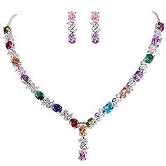 Idea Regalo - Clearine Donna Parure gioielli-Collana Orecchini Elegante Delicato Zirconia cubica Infinito Y-Forma Collana Ciondolare Orecchini Set