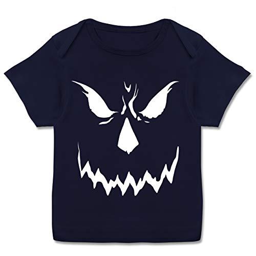 Scary Smile Halloween Kostüm - 56-62 (2-3 Monate) - Navy Blau - E110B - Kurzarm Baby-Shirt für Jungen und Mädchen (Wirklich Gute Scary Kostüm)