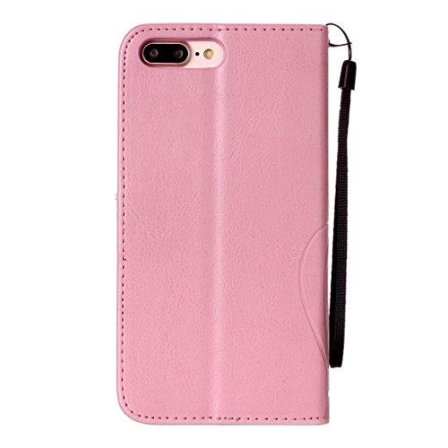 Für iPhone 7 Plus Herz Diamant verkrustete Blumen prägen horizontalen Flip Ledertasche mit Halter & Card Slots & Wallet & Lanyard für iPhone 7 Plus by diebelleu ( Color : Black ) Pink