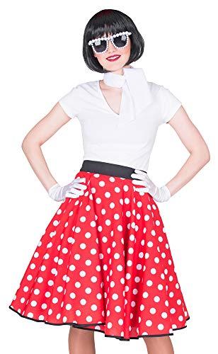 Mottoparty Rock And Roll Kostüm - Das Kostümland Fifties Tellerrock mit Halstuch - Rot Weiß