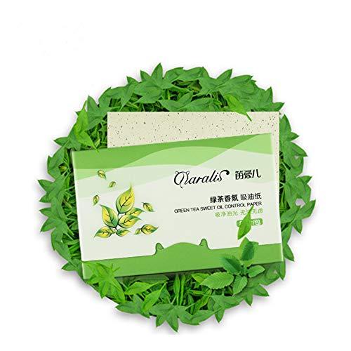 KAYI Frische Grüner Tee Öl absorbierende Blätter - 80 Zählungen, große Größe Öl Blotting Papier - ölige Gesichtshaut, Akne neigende Haut täglichen Gebrauch -