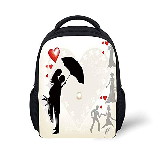 cbc2ded1109c9 Kids School Backpack Wedding Decorations,Couple in Love Umbrella Red Hearts  Daisies Romance in The