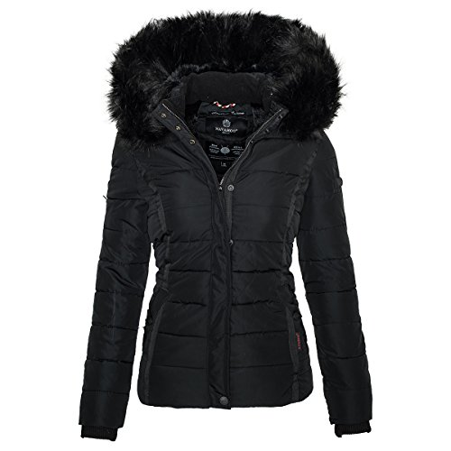 Navahoo Damen Winter Steppjacke Jacke mit abnehmbarem Fellkragen B355
