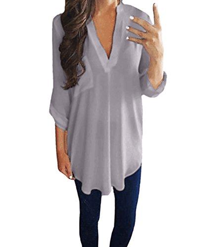 StyleDome Damen Locker V-Ausschnitt Lange Ärmel Solide Unregelmäßigen Bluse Grau 38-40