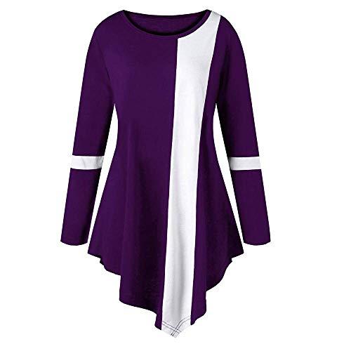Damen Plus Size Shirt Mode Stitching Herbst Langarm Unikat Style Streifen  Casual Zweifarbige Farbe Oansatz Tops 49b2daa73e