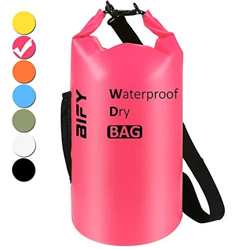 Dry Bag BIFY 5L/10L/15L/20L/25L/30L/40L Leicht Wasserfester Rucksack/Wasserdichte Tasche/Trockensack mit lang Verstellbarer Schultergurt für Boot und Kajak Wassersport Treiben (Rose Rot, 10L)