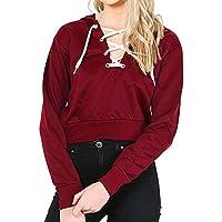 Damen Sweatshirt,Geili Frauen Mode Langarm V-Ausschnitt Schnüren mit Kapuze Sweatshirt Damen Einfarbig Lose Casual... preisvergleich bei billige-tabletten.eu