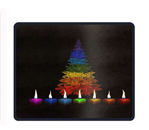 Holiday Christmas Tree (Holiday Christmas Tree Candle Flame Colorful Gaming Mouse Pad Customized Rectangle Non-Slip Rubber Mousepad)