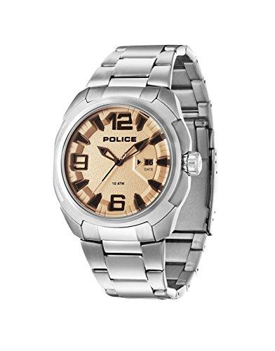 Police PL.93831AEU/04MA - Reloj de cuarzo para hombres con esfera marrón y correa plateada de acero inoxidable