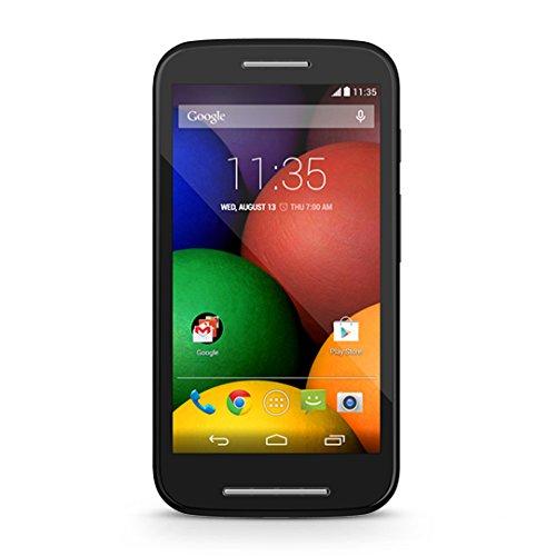 Motorola Moto E Smartphone (10,9 cm (4,3 Zoll) TFT-Display mit 256 PPI, 5 Megapixel Kamera, 1,2 GHz Dual-Core-Prozessor, 1GB RAM, 4GB interner Speicher, MicroSIM, MicroSD-Slot, Android 4.4.2 KitKat) schwarz
