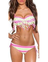 Push-Up Bikini Set gestreift mit Quast Fransen Tassel Design *Gr. 36 - 44 *versch. Farben