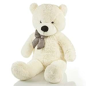 Riesen Teddybär XXL Kuschelbär 120 cm groß Plüschbär – Original Feluna Teddy Bär mit Schleife Weiß
