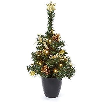 k nstlicher tannenbaum weihnachtsbaum 45cm mit led lichterkette beleuchtung und. Black Bedroom Furniture Sets. Home Design Ideas