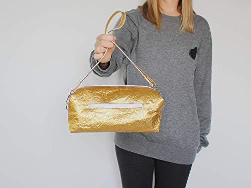 Goldene Tasche aus Piñatex® - vegane Ananasfaser - 5