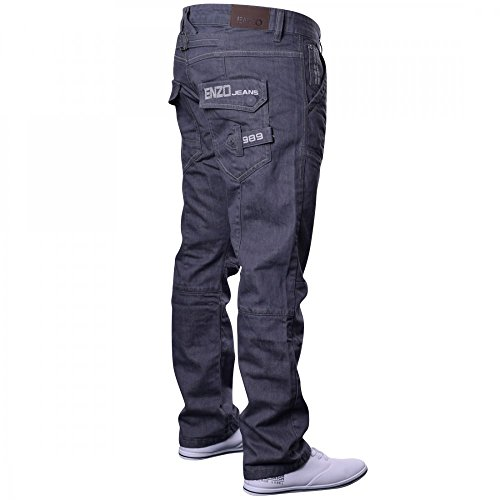 Men's Designer Enzo EZ243 EZ244 Jeans. Light Blue Dark Blue Straight Leg Waist Size 28 30 32 34 36 38 40 42 44 46 48 Grey EZ313
