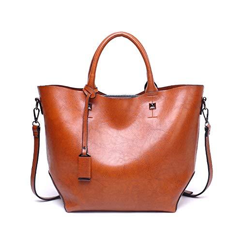 dtaschen für Frauen-Damen-Weinlese-weiche lederne Tote-Schulter-Beutel Kurierbeutel-beiläufige Handtasche der Frauen Schulter-Handtasche (Color : Brown) ()