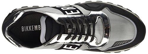 BIKKEMBERGS Herren Fend-Er 739 Low Shoe M Rubber Leather/Fabric Pumps Grigio (Blk/Silver)