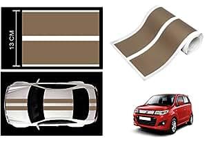 Speedwav Car Racing Stripe Graphic Sticker-Dark Gold-Maruti Wagon R Stingray
