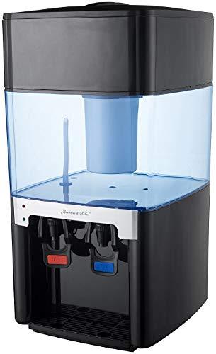 Rosenstein & Söhne Wasserkocher-Spender: Elektro-Heiß- & Kalt-Wasserspender, Kohle-Filter, 2 Zapf-Hähne, 16 l (Haus-Wasser-Spender)